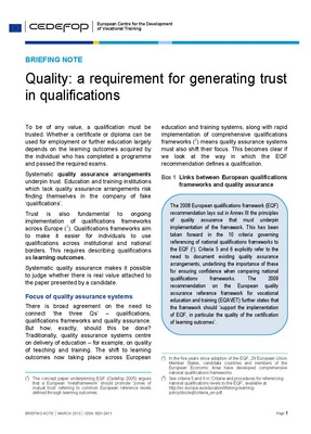 Quality a requirement for generating trust in qualification